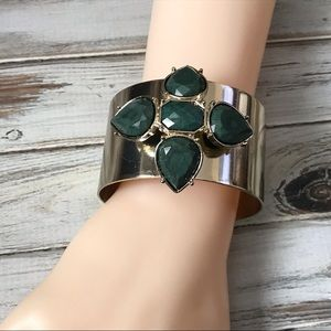 Jewelry - gold wide cuff bracelet with olive green stones